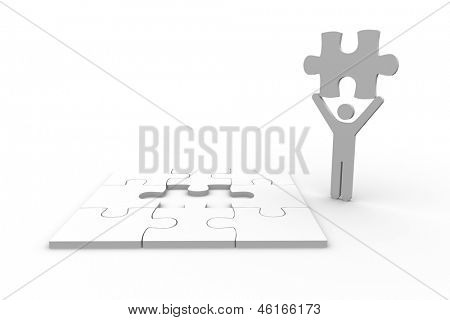 White human figure holding jigsaw piece next to unfinished puzzle on white background
