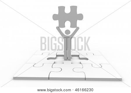 Human representation holding jigsaw piece over unfinished puzzle on white background
