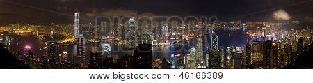 Hong Kong Panorama at night without trademarks