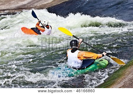 two active kayakers