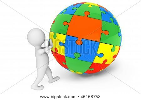 3D Person With Sphere From Color Puzzles