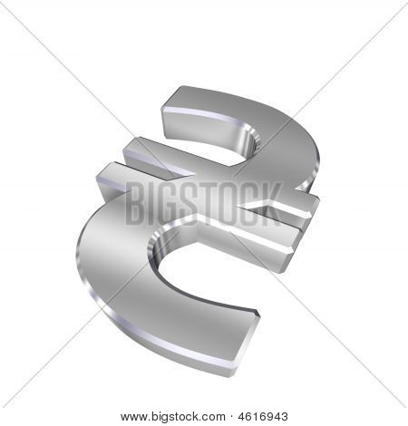 Chrome Hryvnia Sign Isolated On White.