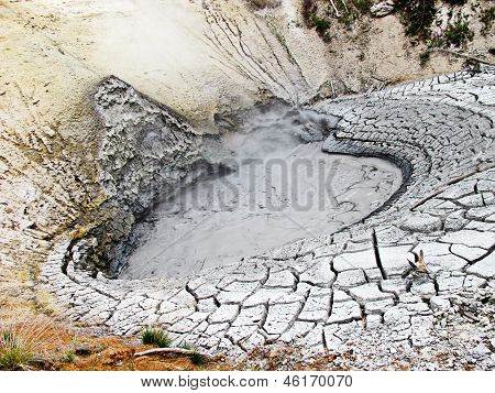 Mud Caldron And Cracked Earth