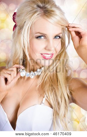 Classy Woman Wearing Diamond Jewelry Chocker