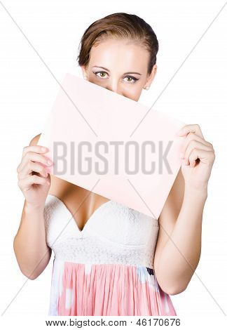 Woman Holding Blank Pink Sign