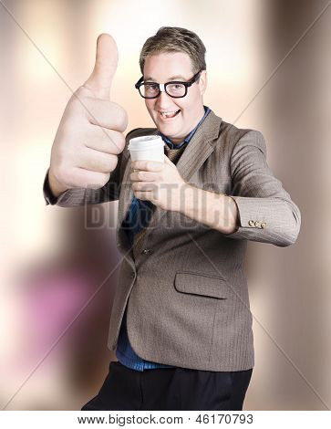 Funny Boss Giving Big Thumb Up With Coffee Cup