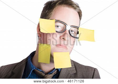 Funny Man With Yellow Sticky Notes On Face
