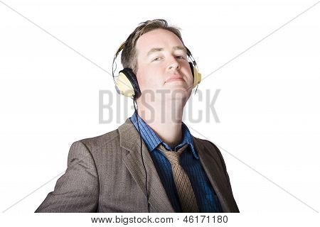 Business Man Wearing Headphones On White