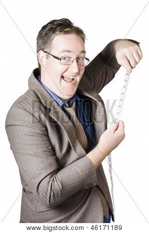 Businessman With Tape Measure On White Background