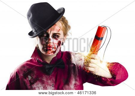 Isolated Zombie Woman With Dynamite
