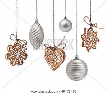 Christmas Gingerbreads And Decoration Hanging