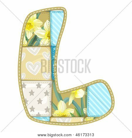Roundish Font From Quilted From Multi-colored A Blanket Rag - Letter L