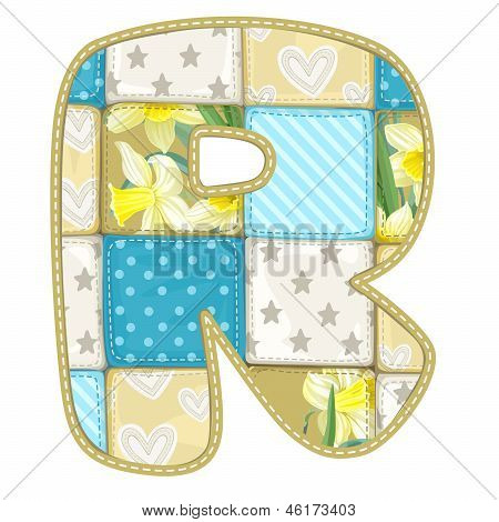 Roundish Font From Quilted From Multi-colored A Blanket Rag - Letter R