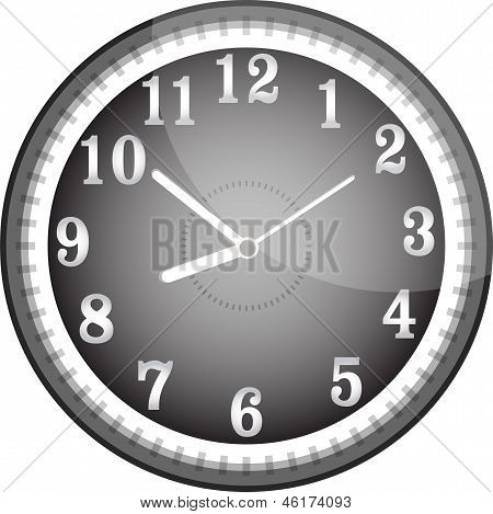 Silver Wall Clock With Black Face