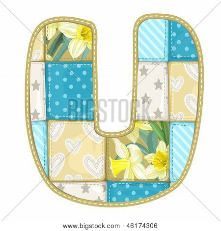 Roundish Font From Quilted From Multi-colored A Blanket Rag - Letter U
