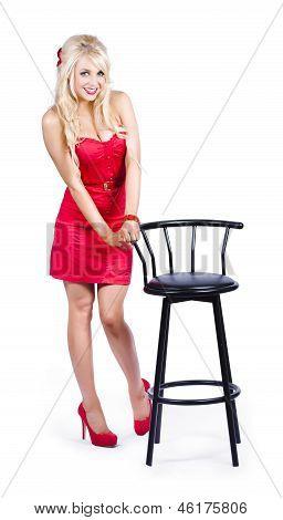 Woman Next To Bar Stool