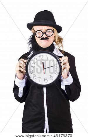 Crying Woman In Disguise Holding Clock