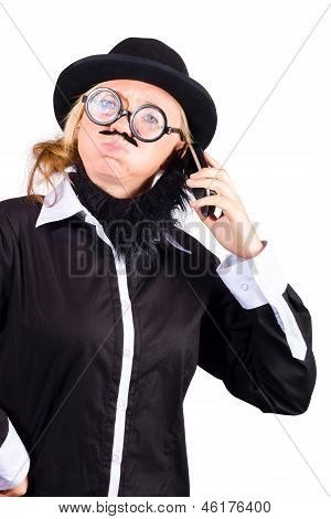 Unhappy Business Man Talking On Phone