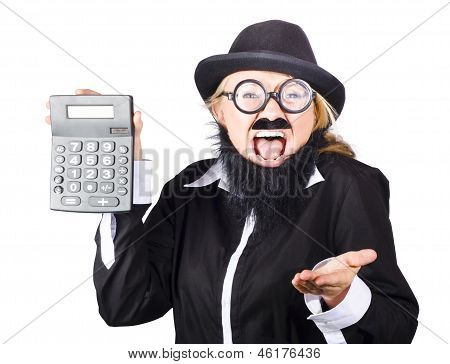 Insane Woman Shouting And Holding Calculator