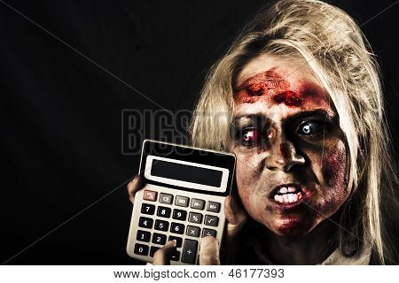 Business Woman With Calculator. Halloween Sale