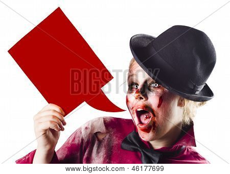 Zombie Woman Shouting Out A Dialogue Bubble