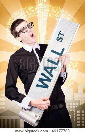 Finance Man Rocking Wall Street Stock Market