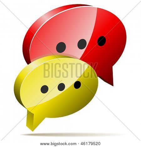 Red and yellow 3D speech bubbles. Blog, chat or forum web icon.