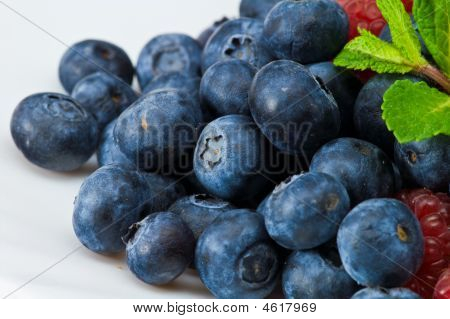 Blueberry And Rasperry With Mint Leaves