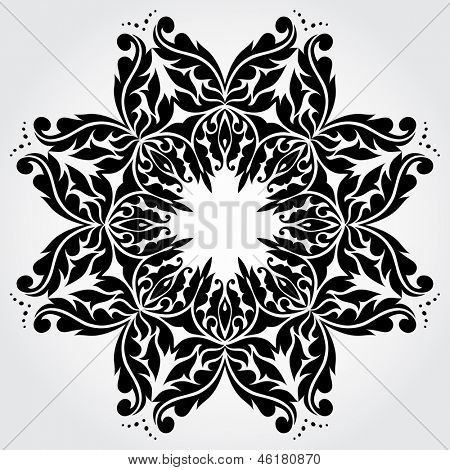 Vector lace element. Round ornamental frame