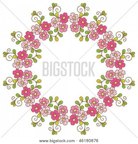 Card with floral pattern. Wreath of cherry blossom