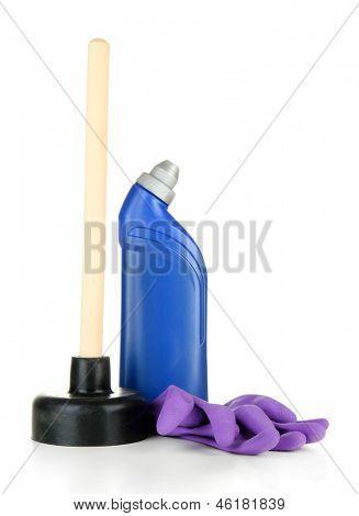 WC Plunger, Handschuhe und saubere Flasche, isolated on white