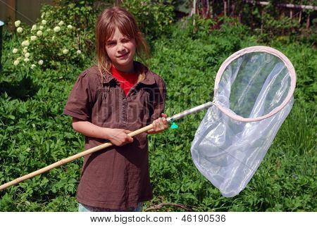Girl with nets for butterfly