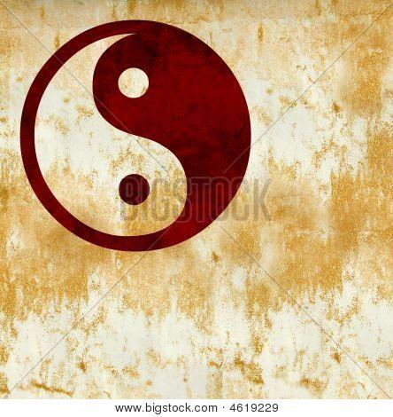 Grunge Yin Yang Chinese  Taoist Symbol
