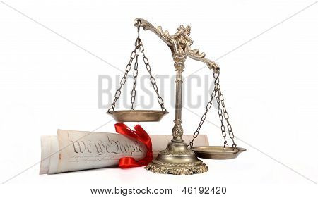 United States of America Constitution and Scales of Justice