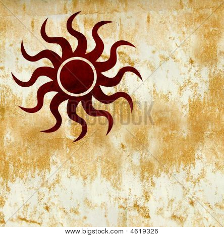 Hot Red Grunge Sun Symbol On Burned Golden Background