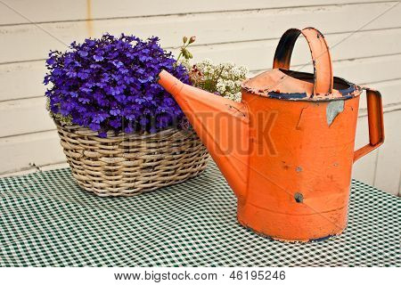 Watering Can And Flower Basket