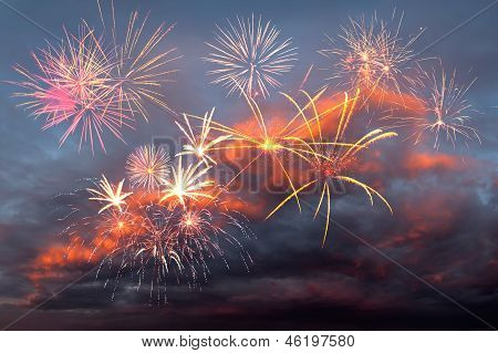 Fireworks In The Evening Sky