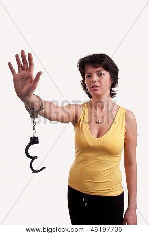 Beautiful Woman With Handcuffs