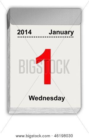 Rasgue apagado calendario 01 de enero de 2014