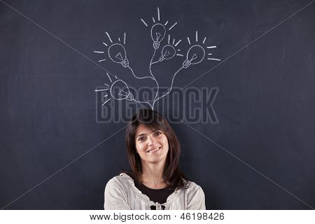 woman and light bulbs sketched on blackboard, growing from her head