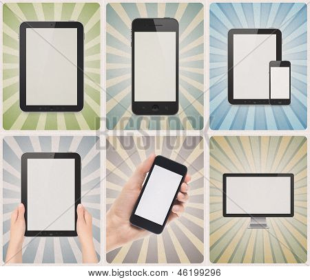 Modern Devices On Retro Background Set
