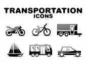 stock photo of camper-van  - Black glossy transportation vector icon set - JPG
