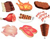 pic of veal meat  - tasty meat picture realistic illustration detailed set - JPG