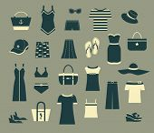 Summer Clothes and Accessories - Set of black and white simple clothing icons, including evening dre