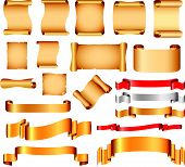Scrolls and flags vector set