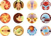 foto of cancer horoscope icon  - original astrology Zodiac signs circled vector set - JPG