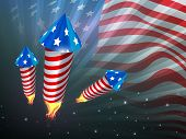 4. Juli, American Independence Day Celebration Background with Fire Cracker.