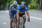 KIEV, UKRAINE - MAY 24: Sergey Krasnov, Ukraine (in front) and Tai Gabay, Israel in the bicycle raci