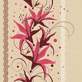 stock photo of belladonna  - Seamless floral design floral pattern vector illustration - JPG