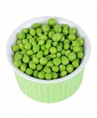stock photo of green pea  - Sweet green peas in bowl isolated on white - JPG